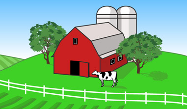 Illustration of Farm with Cow