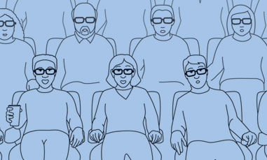 Cartoon Illustration of People Wearing 3-D Glasses