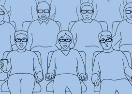 cartoon of people watching 3D movie